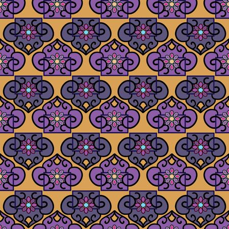 Vector Illustration of stylized traditional ornaments and motifs. Mongolian jewelry motifs in orange, yellow, grey, purple, blue and black. Seamless pattern for gifts, posters, flyers, wallpaper, textile, fabric and scrapbooking.