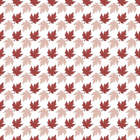 Illustration of stylized maple leaves with red, coral, burgundy, pink stripes on white background. Seamless pattern, vector background for gifts, posters, flyers, wallpaper, textile, fabric and scrapbooking.