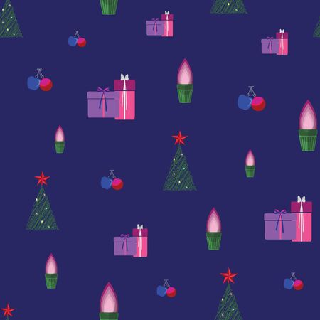 Abstract seamless pattern with christmas gifts, ornaments, trees, snowflakes and apples. Vector illustration in shades of purple, red, pink, green and blue. Ideal for gifts, paper, scrapbooking and fabric. Stok Fotoğraf