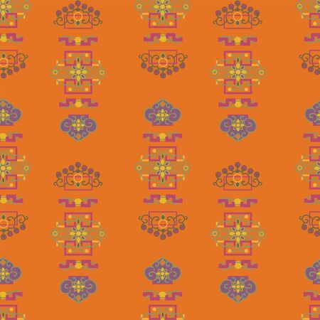 Vector Illustration of stylized traditional ornaments and motifs. Mongolian jewelry motifs in orange, yellow, grey, purple, lilac and green. Seamless pattern for gifts, posters, flyers, wallpaper, textile, fabric and scrapbooking.