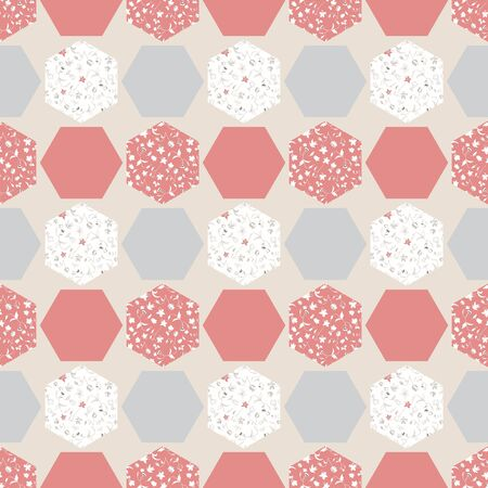 Abstract seamless pattern with hexagons. Vector illustration in shades of pink, grey, cream and white. Perfect f or scrapbooking, fabric, wallpaper, textile, gifts, cards.