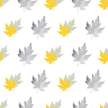 Seamless pattern with patterned leaves. Complex illustration print in grey, black, white and yellow.