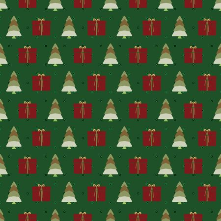 Abstract seamless pattern with christmas tree, gifts and ornaments. Vector illustration in shades of red, green,olive and yellow. Ideal for gifts, paper, scrapbooking and fabric.