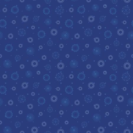 Abstract seamless pattern with snowflakes. Vector illustration in shades of blue. Ideal for gifts, paper, scrapbooking and fabric.