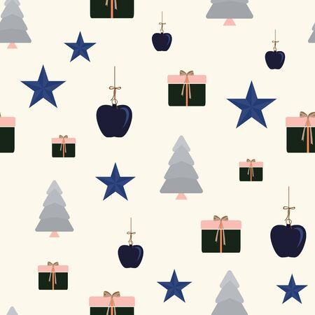 Abstract seamless pattern with christmas tree, apples, gifts and ornaments. Vector illustration in shades of cream, pink, navy, indigo and coral. Ideal for gifts, paper, scrapbooking and fabric.