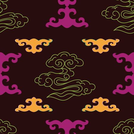 Vector illustration of mongolian traditional symbols, motifs, knots and stylized clouds in raspberry, lime, yellow and aubergine. Seamless pattern for fabric, textile, gifts, wallpaper and scrapbooking.