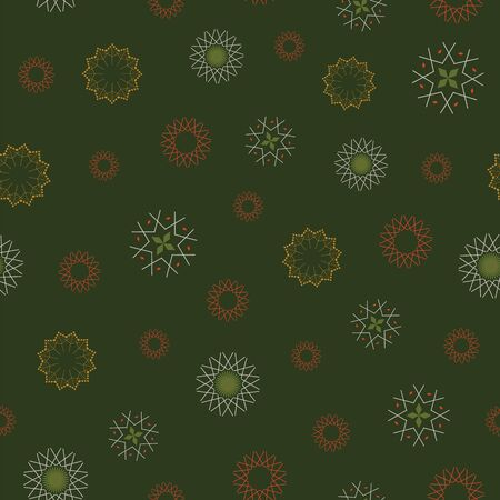 Abstract seamless pattern with snowflakes. Vector illustration in shades of green, red, yellow and cream. Ideal for gifts, paper, scrapbooking and fabric.