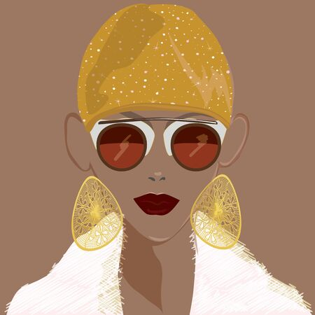 FASHION ILLUSTRATION OF YOUNG, BEAUTIFUL WOMAN WITH SUNGLASSES, GOLD EARRINGS, STAR PRINTED HAT, DARK LIPSTICK AND FAUX FUR COAT. ISOLATED FROM BACKGROUND. Stok Fotoğraf