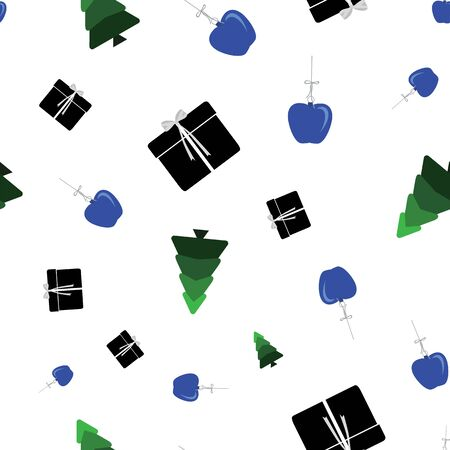 Abstract seamless pattern with christmas tree, gifts and ornaments on white background. Vector illustration in shades of blue, green and black. Ideal for gifts, paper, scrapbooking and fabric. Stok Fotoğraf - 133330700