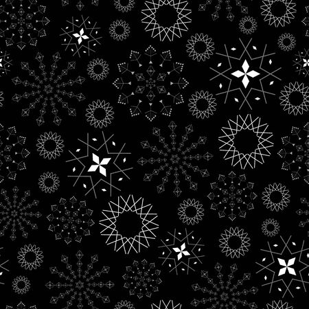 Abstract seamless pattern with lacy snowflakes, stars and diamonds on black background. Vector illustration in shades of white and black. Ideal for gifts, paper, scrapbooking and fabric. Stok Fotoğraf