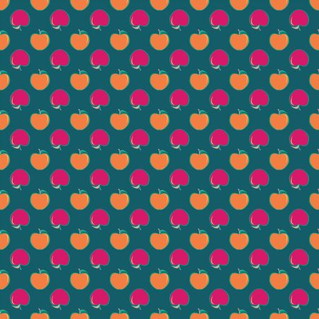Vector illustration of apples in geometric layout. Seamless pattern for school supplies, textile, gifts, wallpaper and scrapbooking.