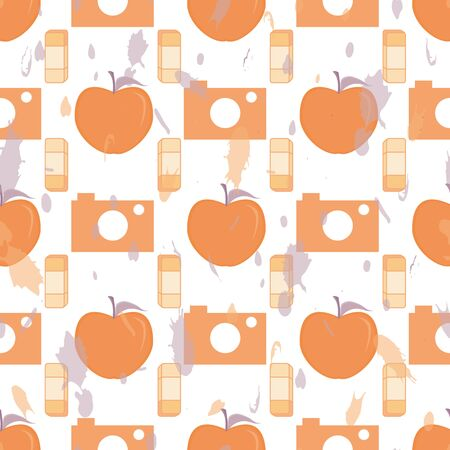 Vector illustration of cameras, apples and eraser symbols on white background. Seamless pattern for back to school supplies, textile, gifts, wallpaper and scrapbooking.