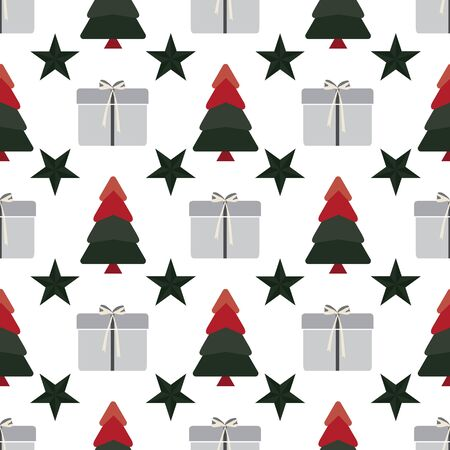 Abstract seamless pattern with christmas tree, stars, gifts and ornaments. Vector illustration in shades of cream, red, green and grey on white background. Ideal for gifts, paper, scrapbooking and fabric. Stok Fotoğraf