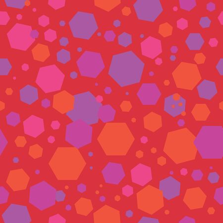 Abstract seamless pattern with layered hexagons. Vector illustration in shades of red, pink, lilac, orange, purple and red. Perfect for scrapbooking, fabric, textile, gifts, cards, posters, flyers. Stok Fotoğraf - 133330713