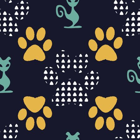 Complex vector illustration print in yellow, white, green and black. Seamless pattern with cats and dogs paw prints on black background. Perfect for gifts, wallpaper, fabric and scrapbooking. Stock Photo