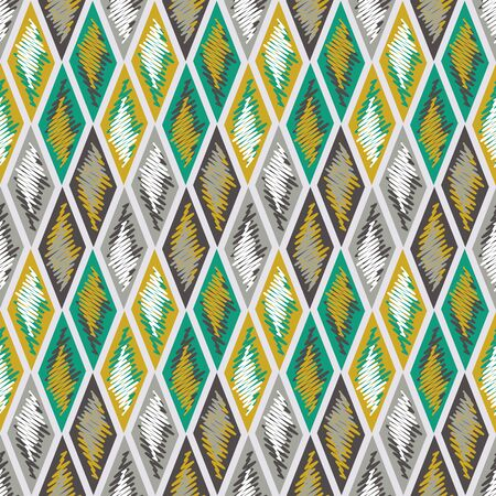 Vector illustration of yellow, green, white and tan rhombuses and rectangles in checkered geometric layout. Scribble texture, textile rapport. Seamless repeat pattern for gift wrap, textile, fabric, scrapbooking and fashion.