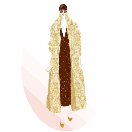 FASHION ILLUSTRATION OF YOUNG, BEAUTIFUL WOMAN WITH STAR PRINTED V NECK DRESS, SUNGLASSES, GOLD EARRINGS, HIGH HEELS, BEANIE HAT AND LOZENGED PRINT OVERSIZED COAT.