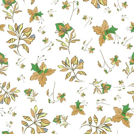 Floral seamless pattern. Vector illustration of abstract leaves, flowers, petunias, lilies and hibiscuses in lime, cream, olive, yellow, green, orange and white. Designed for graphic resources.
