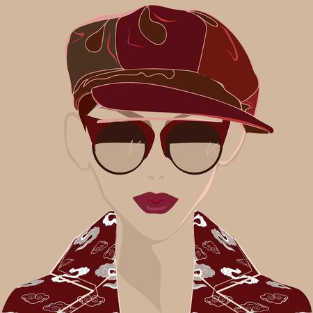 VECTOR FASHION ILLUSTRATION OF YOUNG, BEAUTIFUL WOMAN WITH SUNGLASSES, NEWSBOY HAT AND COLORFUL COAT. ISOLATED FROM BACKGROUND.