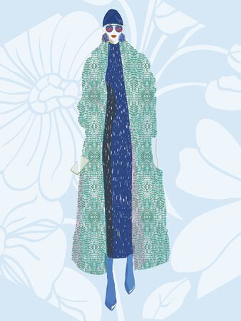 FASHION ILLUSTRATION OF YOUNG, BEAUTIFUL WOMAN WITH STAR PRINTED TURTLE NECK DRESS, SUNGLASSES, HEXAGONAL EARRINGS, HIGH HEELS, BEANIE HAT AND LOZENGED PRINT OVERSIZED COAT. VECTOR SKETCH ISOLATED FROM BACKGROUND. Çizim