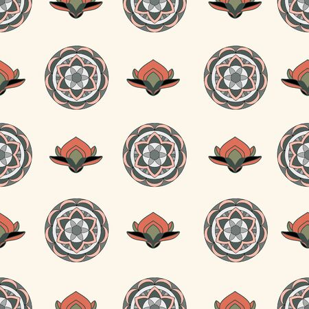 SEAMLESS COLORED ORNATE PATTERN WITH LOTUS FLORAL ELEMENTS, MANDALA ON CREAM BACKGROUND. VECTOR TEMPLATE FOR FABRIC, WALLPAPER, TILE, WRAPPING, COVERS AND CARPETS. Çizim