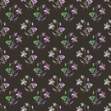 Floral seamless pattern. Vector illustration of abstract leaves, flowers, petunias, lilies and hibiscuses in yellow, lilac, purple, pink and grey. Designed for fashion, fabric.