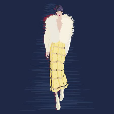 FASHION ILLUSTRATION OF YOUNG, BEAUTIFUL WOMAN WEARING FAUX FUR JACKET, TOQUE HAT, WHITE ANKLE BOOTIES, BUTTERSCOTCH YELLOW LACY SKIRT. VECTOR SKETCH ISOLATED FROM BACKGROUND.