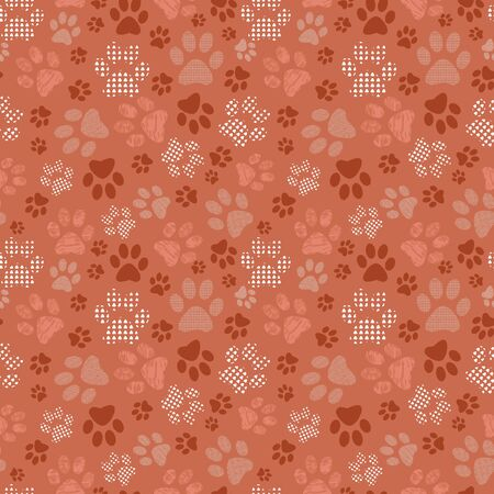 Complex vector illustration print in burgundy, white, orange and pink. Seamless pattern with cats and dogs paw prints on grid background. Perfect for gifts, wallpaper, fabric and scrapbooking. Stock Photo