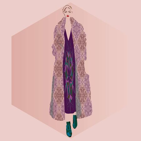 FASHION ILLUSTRATION OF YOUNG, BEAUTIFUL WOMAN WITH ORNATE BIKER RED DRESS AND LOZENGED PRINT OVERSIZED COAT. VECTOR SKETCH ISOLATED FROM BACKGROUND.