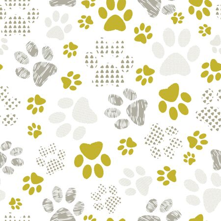Complex vector illustration print in yellow, lime and white. Seamless pattern with cats and dogs paw prints on white background. Perfect for gifts, wallpaper, fabric and scrapbooking. Stock Photo