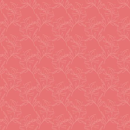 Floral seamless pattern. Vector illustration of abstract leaves, flowers, petunias, lilies and hibiscuses in cream and pink. Designed for fashion, fabric, home decor. Stok Fotoğraf - 133051770