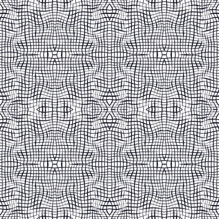 Vector illustration of warped, blended stripes in checkered geometric layout. Seamless repeat pattern for gift wrap, textile, fabric, scrapbooking and fashion.