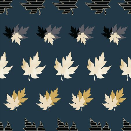 Illustration of stylized maple leaves with solid yellow, mint, navy, grey, black colors and stripes. Seamless pattern, vector background for gifts, posters, flyers, wallpaper, textile, fabric and scrapbooking.