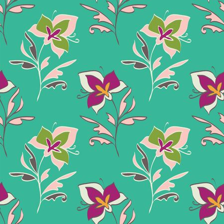 Floral seamless pattern. Vector illustration of abstract leaves, flowers, petunias, lilies and hibiscuses in lime, cream, olive, pink, green, orange and raspberry. Designed for graphic resources.