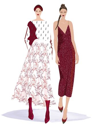 FASHION ILLUSTRATION OF TWO YOUNG, BEAUTIFUL WOMEN IN STYLISH DRESSY OUTFITS. ISOLATED FROM BACKGROUND.
