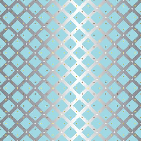 Abstract seamless pattern with criss-cross stripes, small scale dots, eyelets and circles. Vector illustration in shades of yellow, aqua, white and grey for fashion, home decor, clothing, wallpaper, gift wraps and scrapbooking. Stok Fotoğraf - 133051788