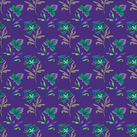 Floral seamless pattern. Vector illustration of abstract leaves, flowers, petunias, lilies and hibiscuses in lime, lilac, purple, olive, yellow, green and blue. Designed for graphic resources.