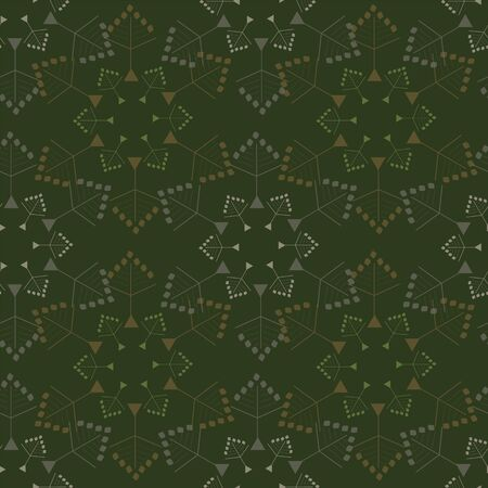 Abstract seamless pattern with snowflakes. Vector illustration in shades of sage, green, lime, olive and cream. Ideal for gifts, paper, scrapbooking and fabric. Stok Fotoğraf - 133051792