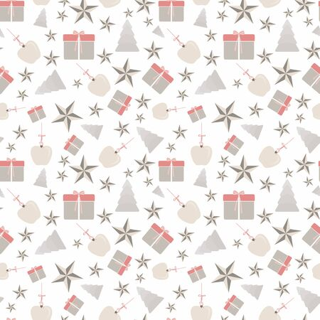 Abstract seamless pattern with christmas tree, gifts, apples and ornaments on white background. Vector illustration in shades of cream, red, coral, green and yellow. Ideal for gifts, paper, scrapbooking and fabric.