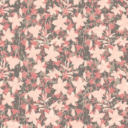 Floral seamless pattern. Vector illustration of abstract leaves, flowers, petunias, lilies and hibiscuses on marbled background in pink, coral, sage, cream and olive