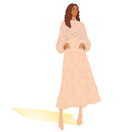 FASHION ILLUSTRATION OF YOUNG, BEAUTIFUL BLACK WOMAN WITH LONG CURLY BROWN HAIR IN PINK OPTICAL ILLUSION PRINTED TOP, HIGH HEELS AND FLORAL LACY LONG SKIRT.