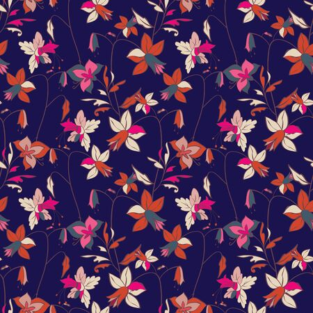 Floral seamless pattern. Vector illustration of abstract leaves, flowers, petunias, lilies and hibiscuses in cream, navy, indigo, pink, lilac, orange and lilac. Designed for graphic resources.