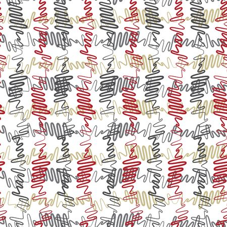 Vector illustration of red, yellow, green and grey scribbled warped vertical stripes. Scribble texture, textile rapport.