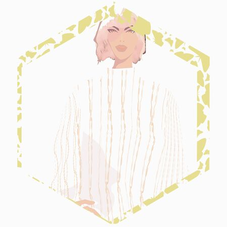 FASHION ILLUSTRATION OF YOUNG, BEAUTIFUL WOMAN WITH PINK BLUNT BOB HAIRCUT, NATURAL MAKE-UP, KNIT SWEATER. VECTOR PORTRAIT WITH BUTTERFLY PRINTED HEXAGONAL FRAME. Çizim