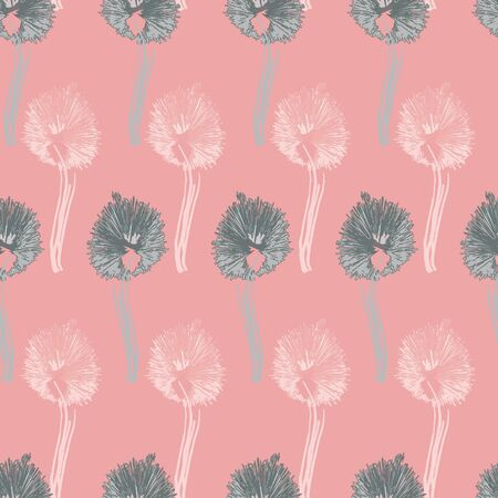 Seamless pattern with pink, cream, aqua, grey dandelions in geometric layout. Vector illustration in watercolour style. Isolated from background.