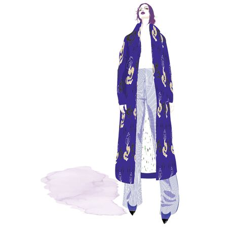 FASHION ILLUSTRATION OF YOUNG, BEAUTIFUL WOMAN WITH MESSY LOW CHIGNON, WIDE LEG STRIPED PANTS, ABSTRACT DRAGON CLOUD PRINTED INDIGO COAT.