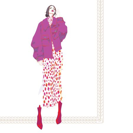 FASHION ILLUSTRATION OF YOUNG, BEAUTIFUL WOMAN WITH MESSY LOW CHIGNON, OVERSIZED MULBERRY JACKET, FLORAL PRINTED MIDI DRESS, RED BOOTS. Stok Fotoğraf