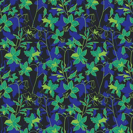 Floral seamless pattern. Vector illustration of dreamy abstract leaves, flowers, lilies and hibiscuses in blue, indigo, aqua, lime, green and black. Designed for fashion, fabric, home decor. Isolated from background. Stok Fotoğraf