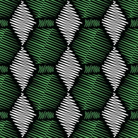 Vector illustration of white, forest green, chartreuse and white scribbled warped rhombuses isolated from background. Scribble texture, textile rapport. Seamless repeat pattern for gift wrap, textile, fabric, scrapbooking and fashion. Stok Fotoğraf