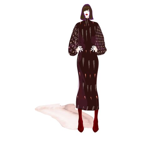 FASHION ILLUSTRATION OF YOUNG ASIAN WOMAN WITH BLUNT BOB HAIRCUT, ABSTRACT HEART PRINTED MIDI DRESS, BURGUNDY RED BOOTS. VECTOR SKETCH ISOLATED FROM BACKGROUND.